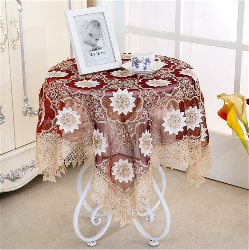 wit 8585cm embroidery 3d table cloth banquet embossment table cloths gauze coffee