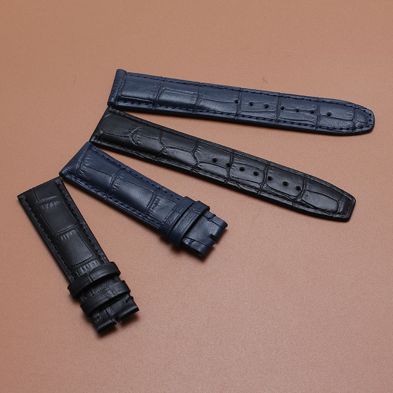 20mm(buckle width 18mm) Watchband Watch Strap Bracelet Black or dark blue leather with Stitched Lining  brand watch accessories top grade vintage calfskin genuine leather watch strap 20mm army green tan dark blue green maroon black watchband with buckle