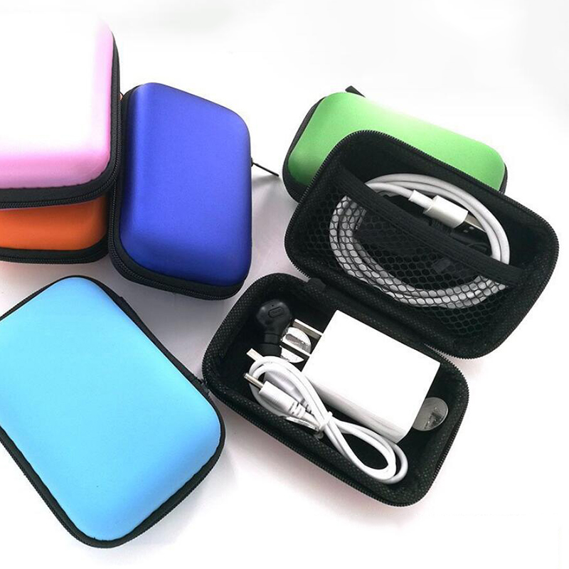 Mini Zipper Hard Headphone Case PU Leather Earphone Case Storage Bag Protective USB Cable Organizer Portable Colorful Earbud Box