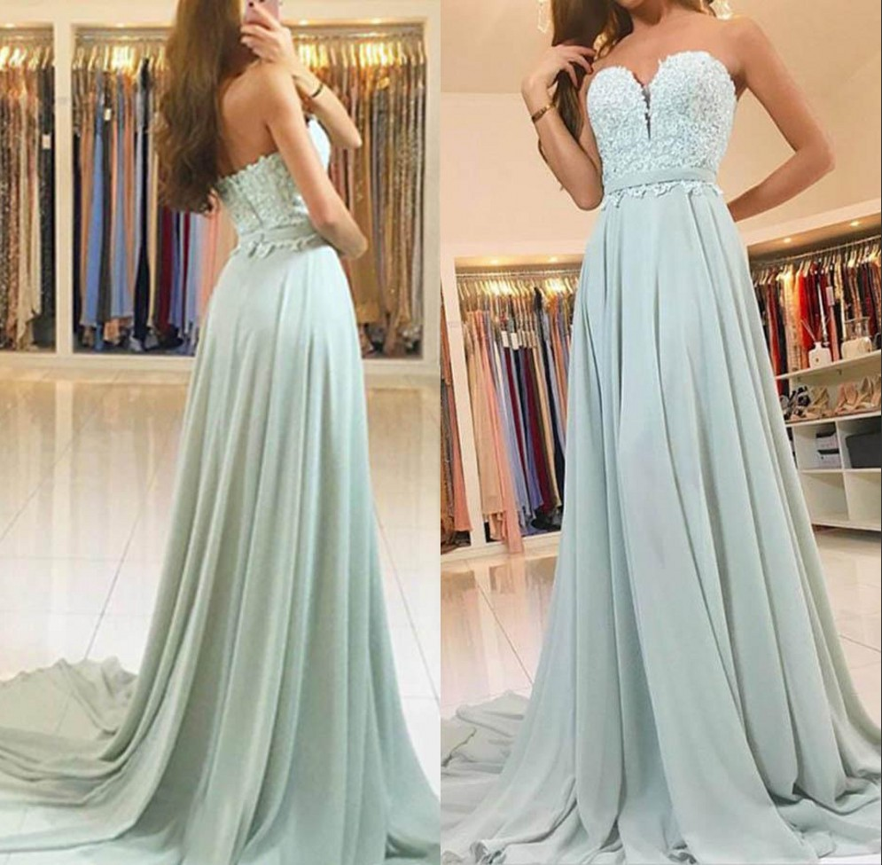 Sexy Sweetheart Mint Green Cheap Lace   Evening     Dresses   2019 A Line Applique Long Chiffon   Dress   Formal Party Gown