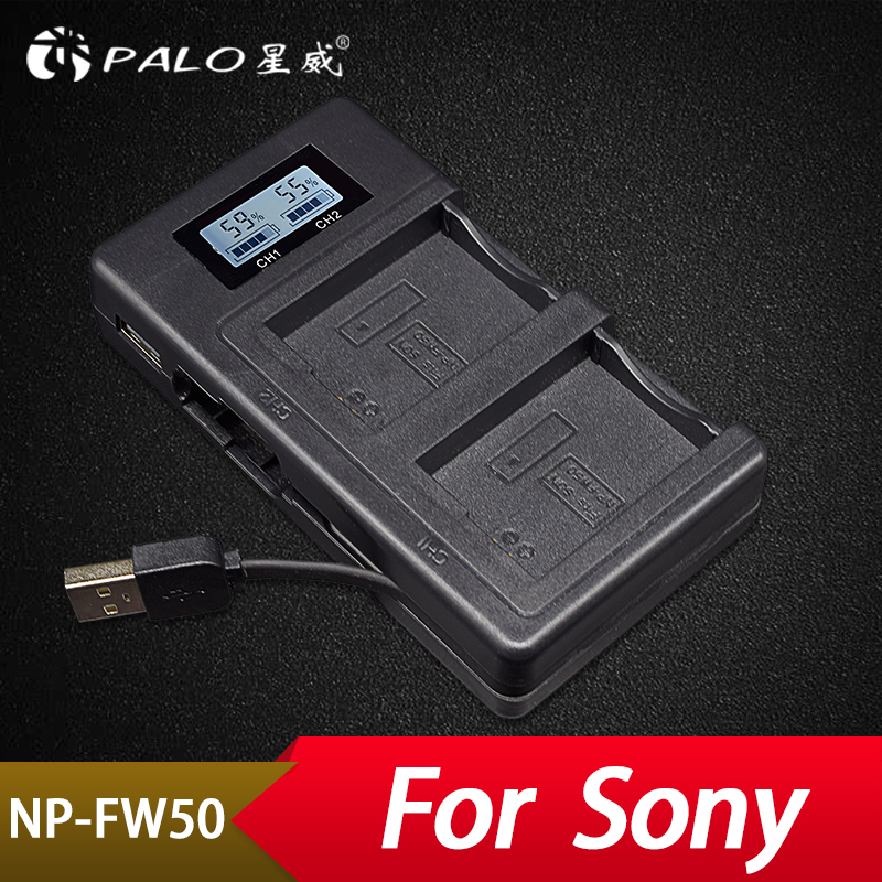 Palo NP-FW50 Rechargeable LED Display Li-ion Battery Charger 2-Slot with USB Cable for SONY Alpha A7 A7R A7S A5000 A6000 ect цены онлайн