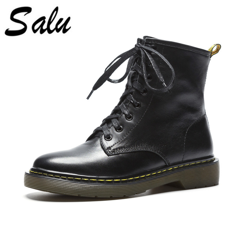 Salu Genuine Leather Boots Short Plush Women Shoes Simple Style Ankle Boots With Handmade High Quality Shoes bacia genuine leather boots short plush women shoes black simple style ankle boots with zipper handmade high quality shoes vd021