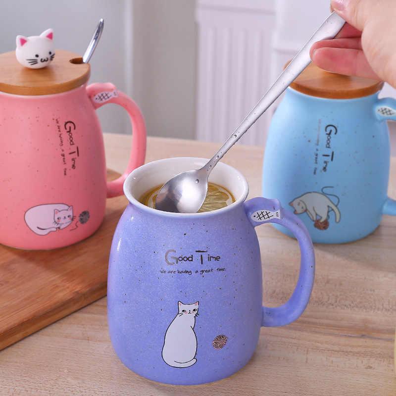 Duolvqi кофейная кружка с мультяшным котом креативные керамические кружки прекрасная чашка для воды с деревянной крышкой и ложкой из нержавеющей стали 401-500 мл