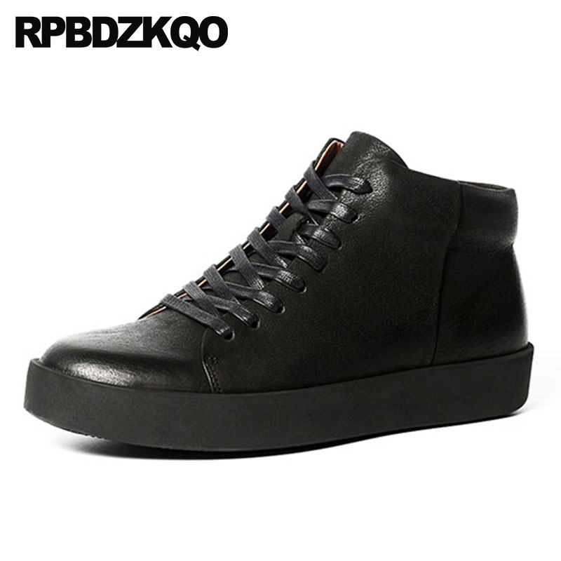 high top shoes trainer real leather men booties 2018 british style full grain boots short sneakers black fall lace up genuine high top sneakers designer shoes men quality outdoor autumn trainer genuine leather short full grain lace up booties black boots