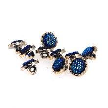 Блестящие 20 шт пластиковые пуговицы для шитья скрапбукинга круглые синие бусинки с хвостовиком 13 мм диаметр. Ботинки Costura, декорированные боттонами