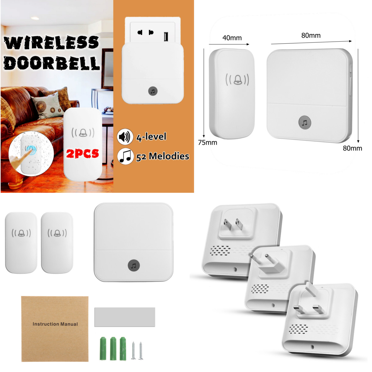 New Wireless Doorbell Waterproof 1000ft Remote EU UK US Plug smart Door Bell 52 Chimes battery 2 button 1 receiver AC wireless cordless digital doorbell remote door bell chime waterproof eu us uk au plug 110 220v