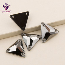 3270 Triangle 16mm 22mm Jet Hematite Glass Crystal Rhinestones Sew On Crystals For Clothes Strass Rhinestone