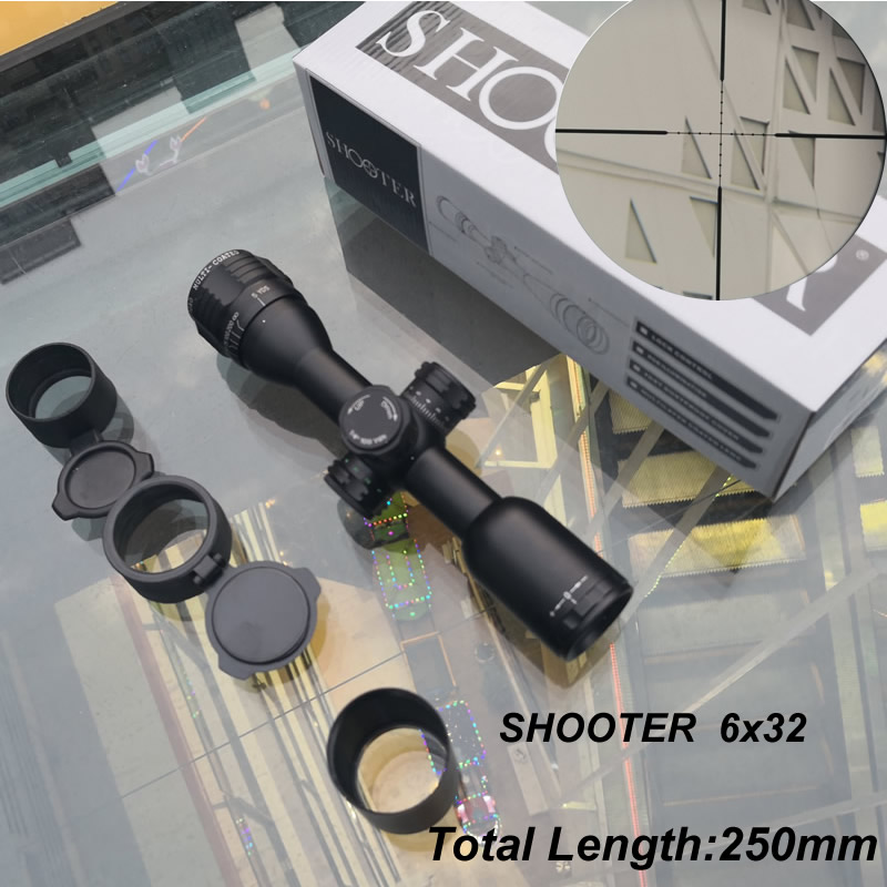 Shooter 6x32 Short Tactical Hunting Riflescopes CAZA 1inch Tube Mil-dot Reticle Optical Scopes