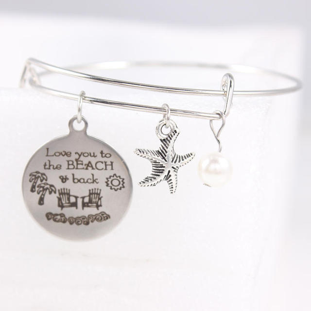 silve love you to the beach back charm expandable wire wrist bangle bracelet diy women
