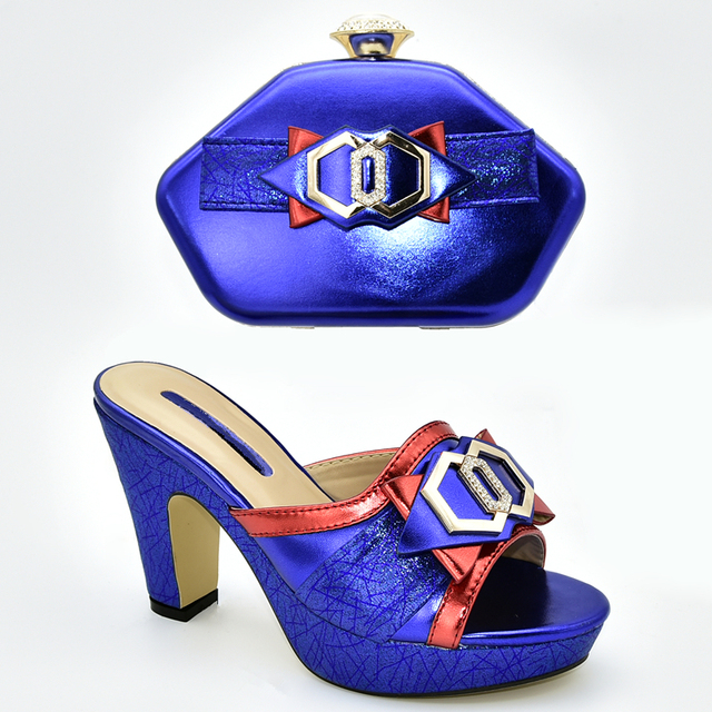 Latest Royal Blue Color Italian Matching Shoe and Bag Set for Wedding Shoes and Bags To Match African Wedding Shoes and Bag Set