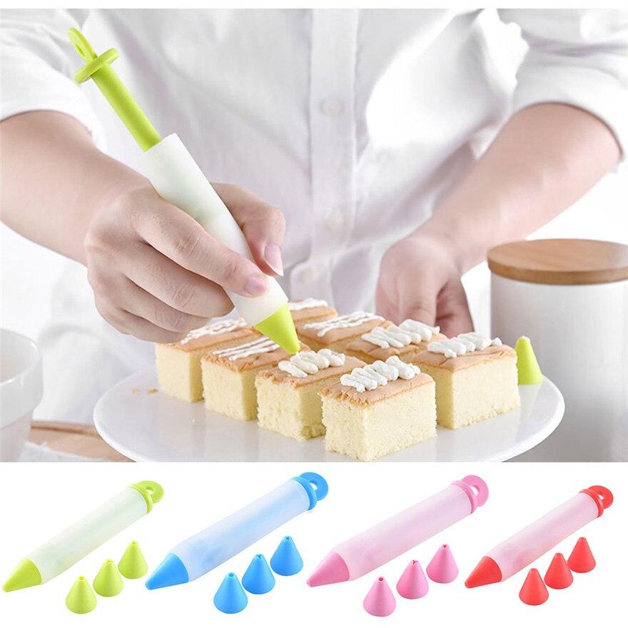 Food-Writing-Pen Chocolate-Cake-Decorating-Tools Decorator Dessert 4-Nozzles Cream-Cup