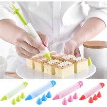 Силиконовая пищевая ручка с 4 насадками, инструменты для украшения шоколадного торта, чашки крема, обледенение, окантовка, десертный торт, декоратор#0111 A1