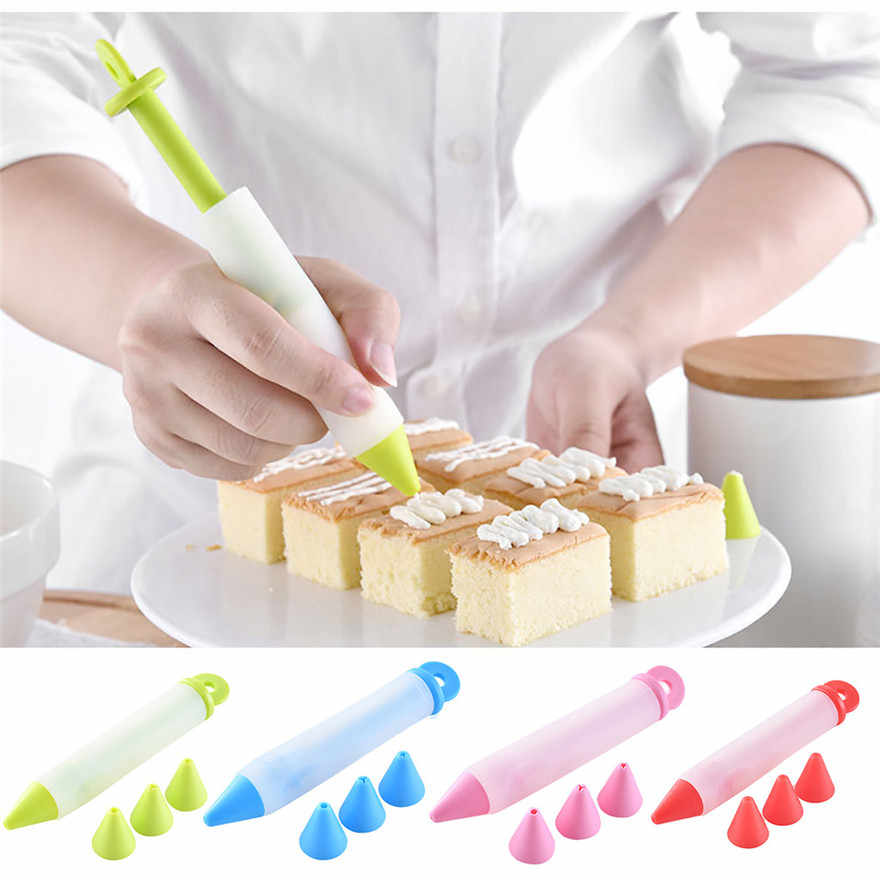 Silicone Food Writing Pen with 4 Nozzles Chocolate Cake Decorating Tools Cream Cup Icing Piping Dessert Cake Decorator #0111 A1#