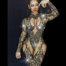 Clube noturno barra usar pedras bodysuit leggings baile de formatura celebrar o desempenho vestido preto nu strass macacão para mulher
