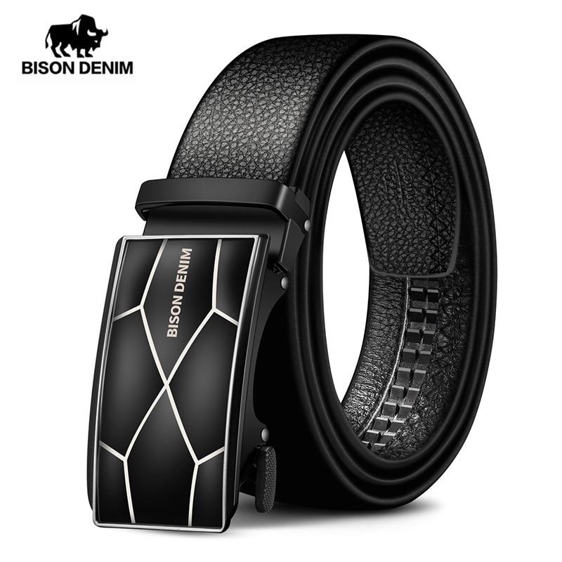 BISON DENIM Genuine Leather Automatic Buckle Men Belt Luxury Strap Belt For Male Business Popular Male Brand Black Belts N71478