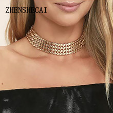 Gold colier femme bijoux argent fashion gold choker colar collar necklaces accesorios mujer wholesale jewelry(China)
