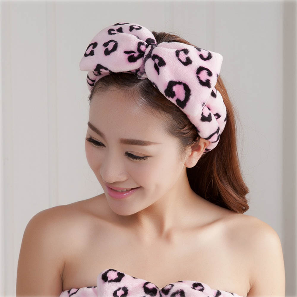 CN Coral Fleece Bow Headbands For Women Girls Wash Face Makeup Bath Solid Striped Polka Dots Hairband Turban Hair Accessories