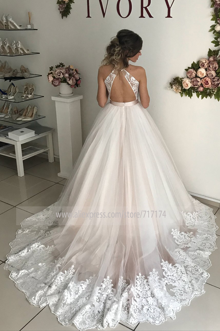 Plunging Illusion Tulle Neck Lace Wedding Dress with A Belt Criss Cross Court Train Applique Edge Wedding Ball Gown Bridal Dress