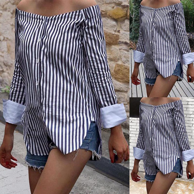 Fashion Autumn Women Sexy Tops Off Shoulder Long Sleeve Vertical Stripe Shirt Vintage Ladies Girls Loose Casual Blouse