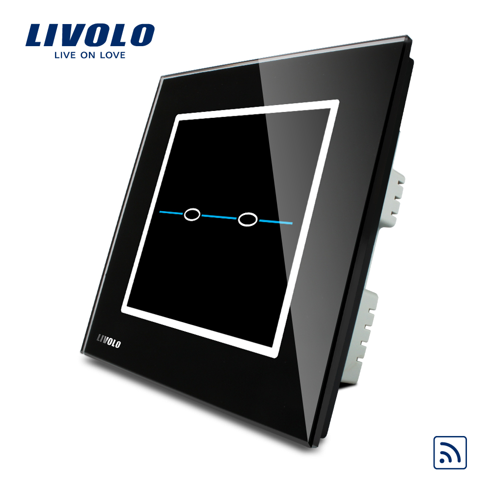 Livolo UK standard 2gang 1way Wireless Remote Home Light Switch,AC220~250V,Black Glass Panel, C302R-32,without remote controller uk standard wireless switch luxury crystal glass panel 1 gang 1 way home light switch remote touch switch vl c301r 63