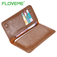 FLOVEME Genuine Leather Wallet Case For IPhone 6 6S 7 Plus Cover Multi Function Vintage Luxury