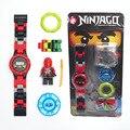 Ninjagoe minifigures super hero ninjago building blocks mini relógio caixa original bricks compatível legoe brinquedos para presente das crianças