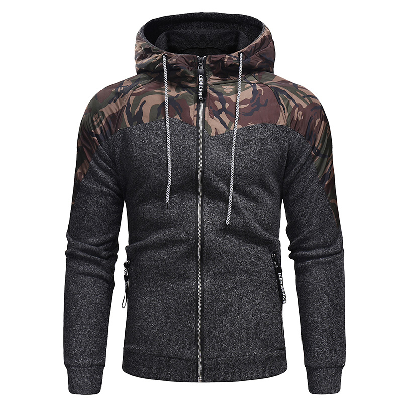 Dropping Ship New Casual Military Hooded Men's Hoodies Patchwork Camouflage Zipper Long Sleeve Hoodies Men