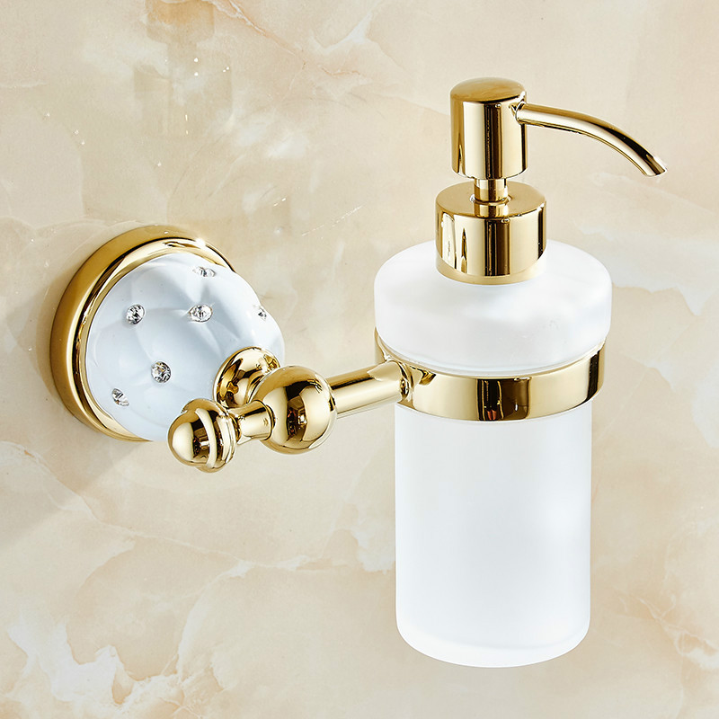 Liquid Soap Dispenser With Gold Brass Glass Container/bottle Luxury Wall Mounted Liquid Holder Bathroom Products AccessoriesLiquid Soap Dispenser With Gold Brass Glass Container/bottle Luxury Wall Mounted Liquid Holder Bathroom Products Accessories