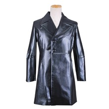 New Arrival CosplayDiy Men's Jacket Movie Sweeney Todd Black Leather Winter Jacket Coat