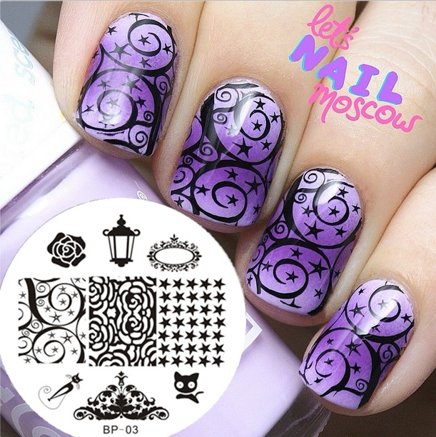Aliexpress.com : Buy 1Pc Cat & Rose & Star Nail Stamping Plates ...