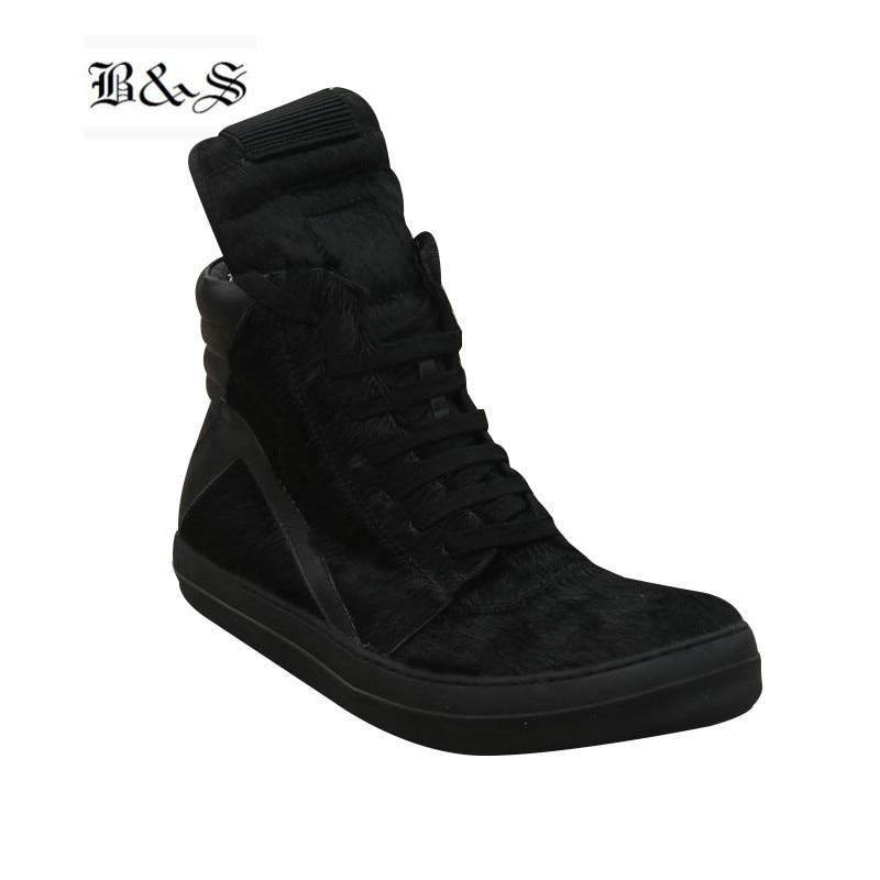 Y Hop Black Hechas Tendencia A Completo Roca Cuero Trainer Mano Piel Lace Fresca Hip Botas Caballo De Boot Up Negro Genuino Calle Oscuridad Sneaker dwTXOxdgq