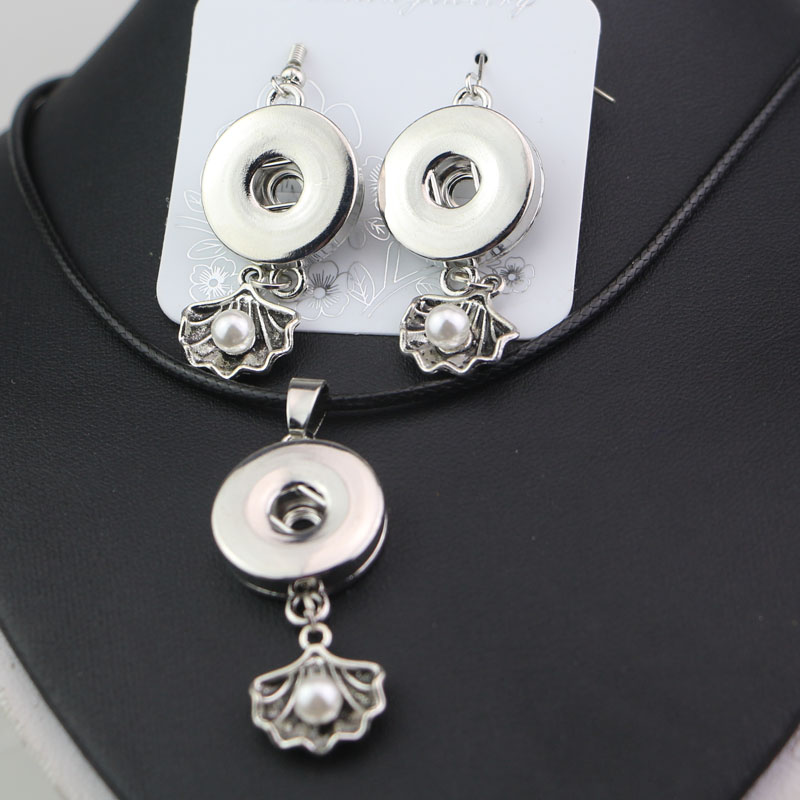 New Arrive 8Styles to Choose! DIY Snaps Button Jewelry Necklace and Earring Sets Fit 18mm Metal Buttons For Women Girls snap button jewelry