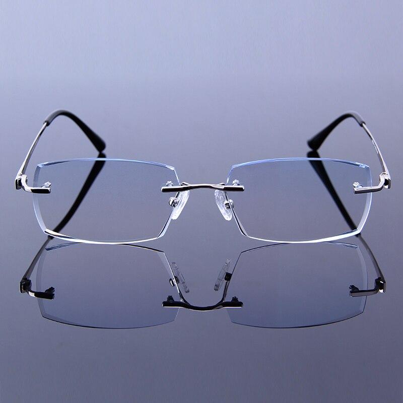 Gentleman Reading Glasses Men Fashion Rimless Eyeglasses Hyperopia HMC  Coating Male Eyewear Silver frames Man Presbyopic Glasses-in Reading Glasses  from ... d85e0a578300