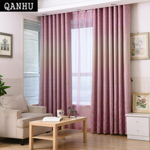QANHU Veil On The Windows Printing Curtain Gardinen Modern Room Curtains In  The Living Room Rideau Voilage Enfant Red And Blue