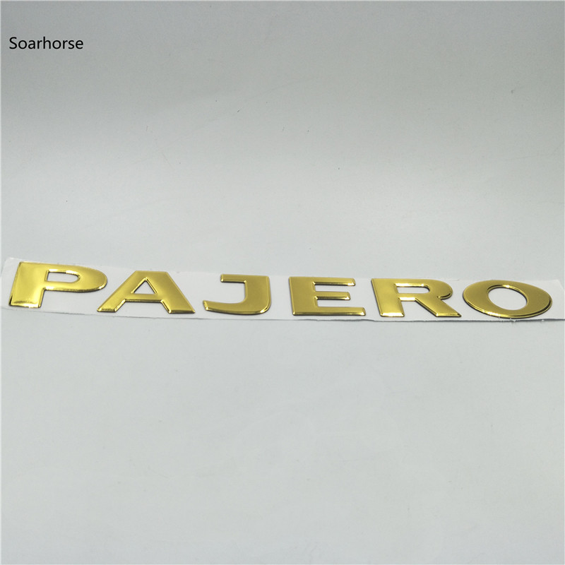 Image 2 - Soarhorse For MITSUBISHI PAJERO Gold 3D Letters Rear Boot Trunk Tailgate Emblem Nameplate Decals Car Accessroies-in Car Stickers from Automobiles & Motorcycles