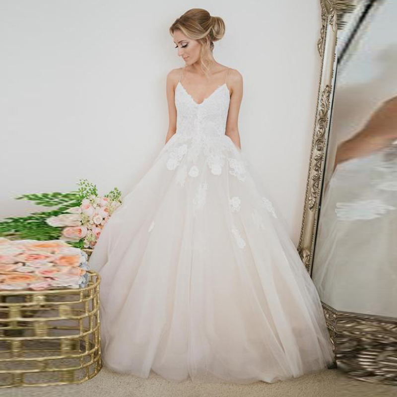 Verngo Flower Appliques Tulle Wedding Dress Spaghetti Straps Bride Dress Princess Wedding Gowns Trouwjurk in Wedding Dresses from Weddings Events