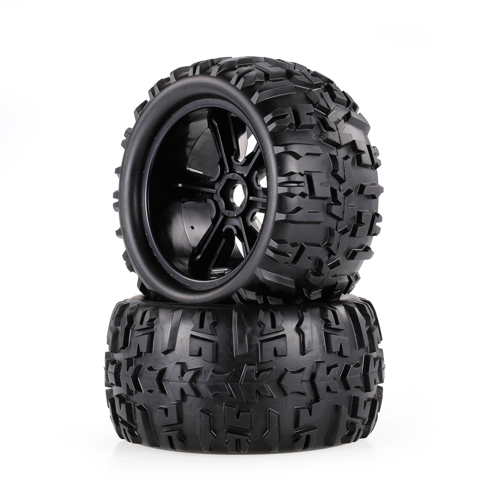 2pcs 3.6 Inch 150mm Monster Truck Wheel Rim and Tire for 1/8 Traxxas HSP HPI E-MAXX Savage Flux ZD Racing RC Car 2pcs pro line rock rage 3 8 inch tire w f 11 black 1 2inch offset 17mm wheels for tmaxx erevo summit 1199 13