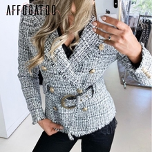 Affogatoo Elegant V-neck Plaid blazer coat women Casual double breasted tweed bu