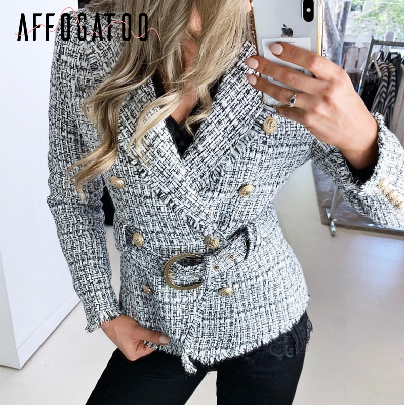 Affogatoo Elegant V-neck Plaid Blazer Coat Women Casual Double Breasted Tweed Button Belt Ladies Coat Long Sleeve Outwear Jacket