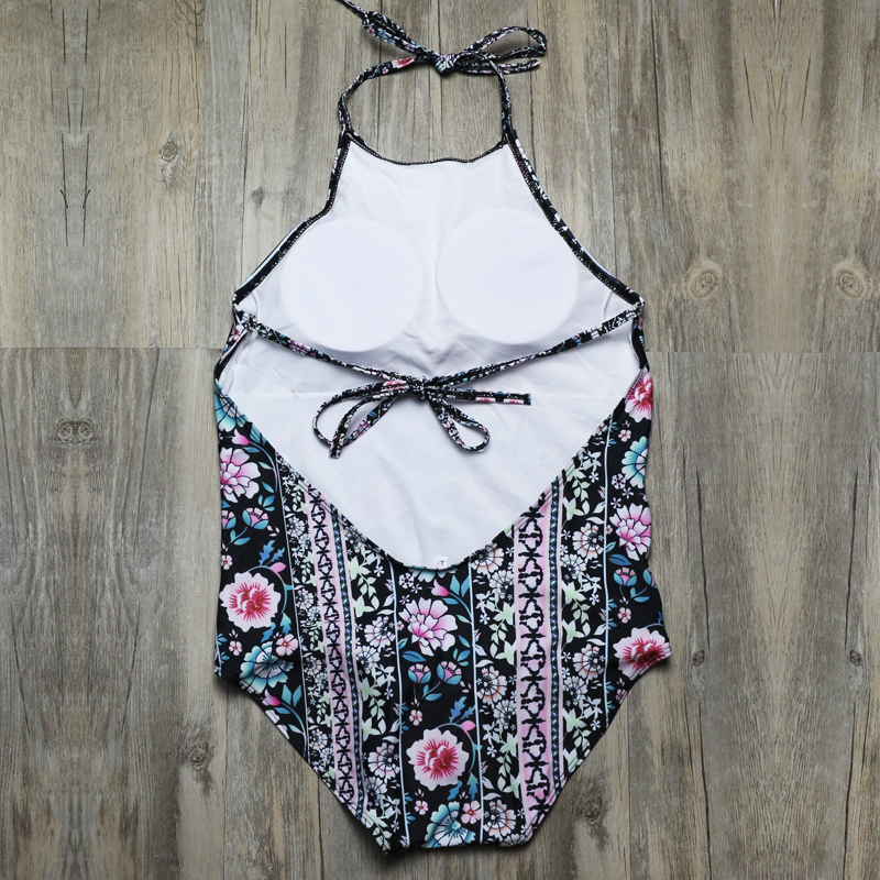 Sexy Women One Piece Swimsuit Retro Floral Monokini High Neck Swimwear Women Halter Bathing Suit Trikini Backless Bodysuit 3