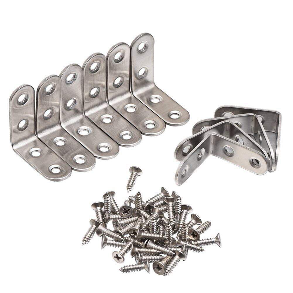 90 Degree Right Angle Brackets Stainless Steel Corner Braces with Screws, 10 Pack ned 65x65x20mm practical stainless steel corner brackets joint fastening right angle 2 5mm thickened bracket with screws