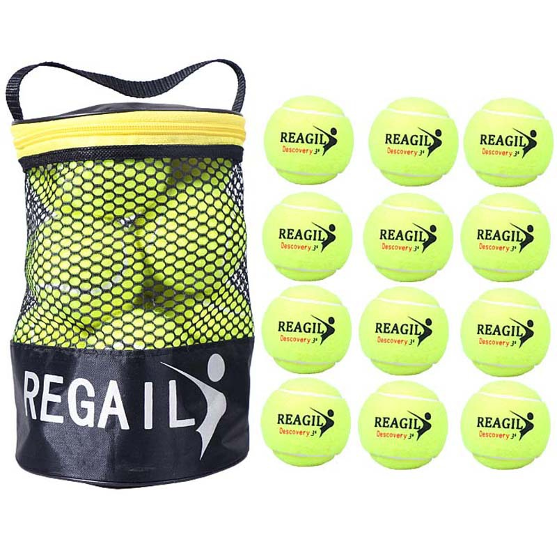 REGAIL 12pcs/Lot Elasticity For Training Sport Rubber Woolen Tennis Balls With Net Package