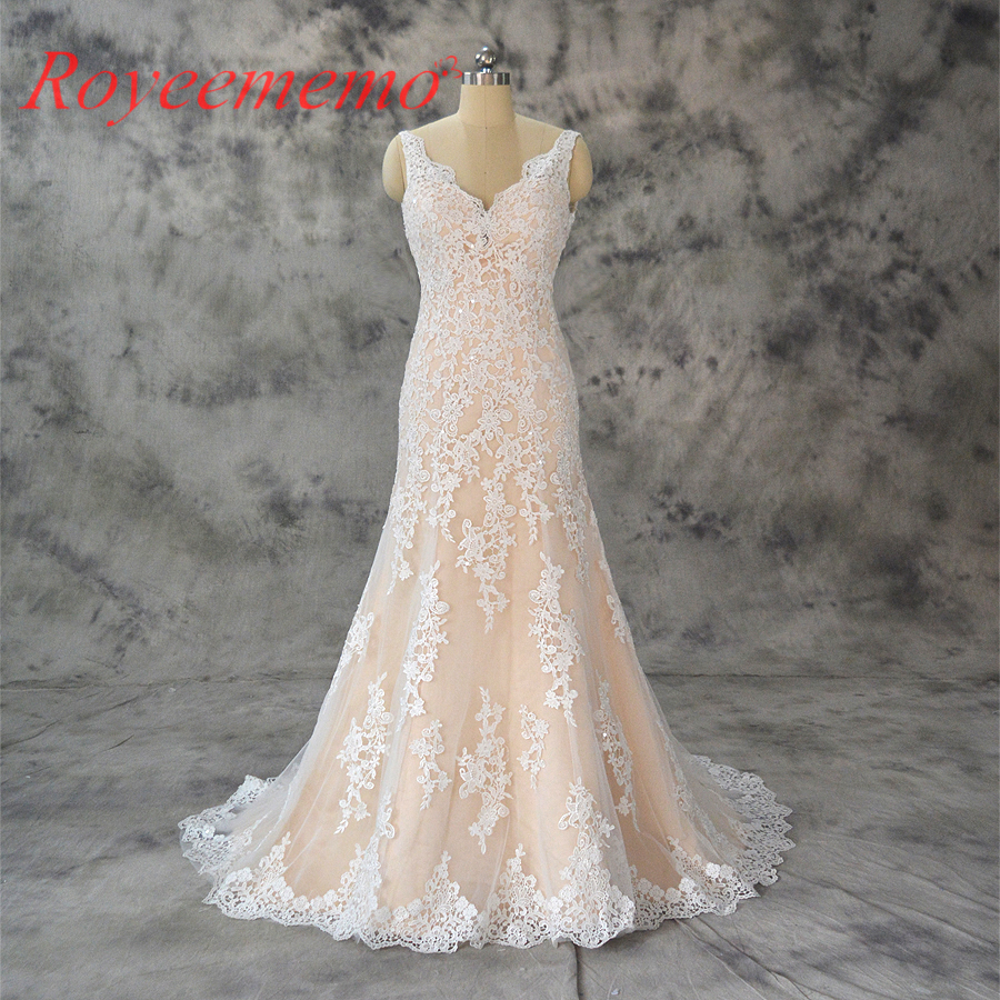 2017 New Design Champagne And Ivory Wedding Dress Top