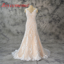 Royeememo 2019 champagne ivory wedding dress top gown