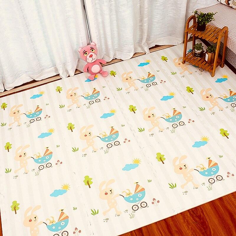 12 pièces tapis de Puzzle doux EVA mousse plancher imbriqué tapis carreaux tampons sûrs pour bébé ramper jouer bricolage jouet avec motif de bande dessinée