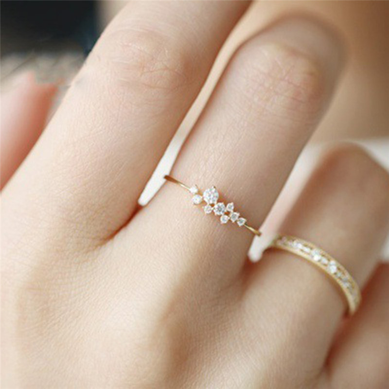 BOAKO Simple Cubic Zirconia Small Stone Thin Ring Gold Engagement Rings For Women Boho Fashion Jewelry Wedding Ladies Gift X7-M2