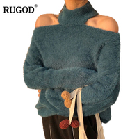 RUGOD Sexy Halter Off Shoulder Sweater Women 2018 Autumn Winter Warm Mink Cashmere Pullover All Match Solid Knitted Sweater Tops