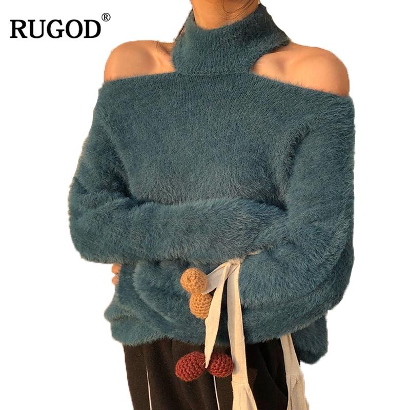 RUGOD сексуальный Холтер свитер с открытым плечом для женщин 2018 осень зима теплый пуловер из норки и кашемира Универсальные однотонные женский полувер