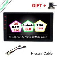 2G+32G Quad Core 7 2 Din Android 8.0 Car DVD Radio Multimedia Player 1024*600 Universal GPS For Nissan vesa micra navara tiida