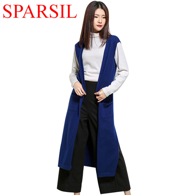 Sparsil Women's Spring Sleeveless Cashmere Blend Long Cardigans With Pockets Female Solid Color Hem Split Knitted Sweater